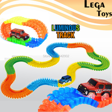 DIY Slot Track Bend Flex Flash in the Dark Assembly Toy glow race track rail Electric Racing car Educational Toys for Children