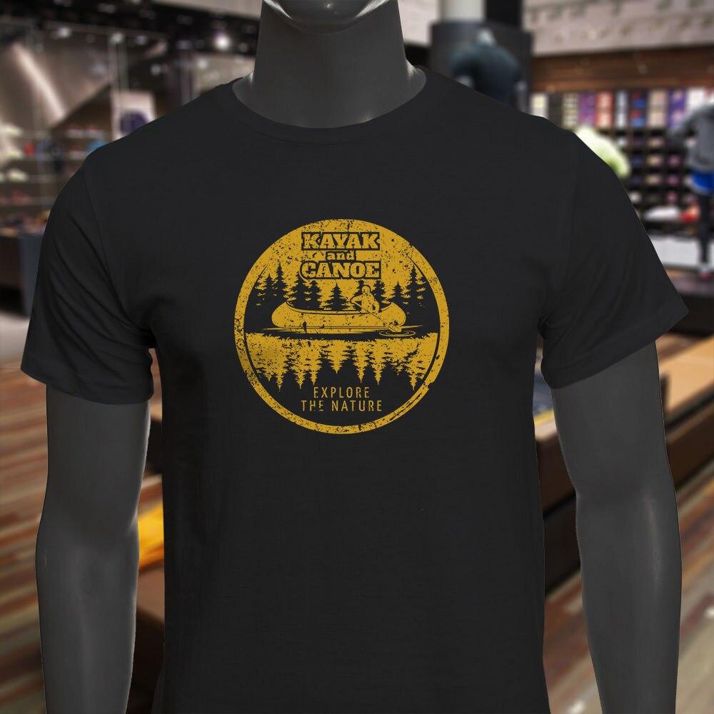 2018 Summer Tee shirt KAYAK AND CANOE EXPLORE NATURE FOREST Mens Black T-Shirt Custom T-shirt