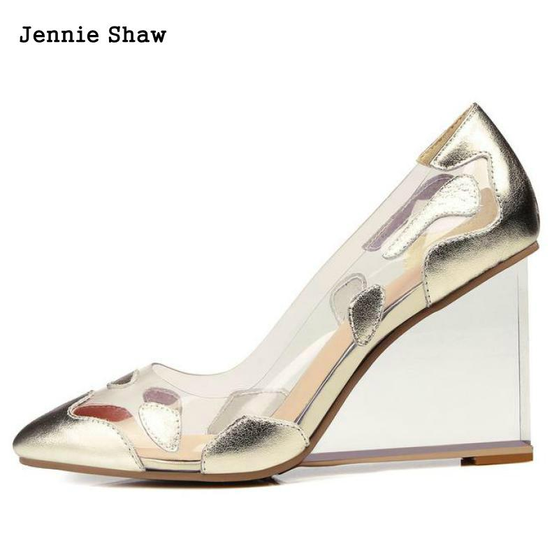 Summer Wedges Shoes For Women High Heel Crystal Transparent Heel Sexy Elegant Shoes