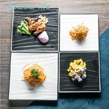 Solid Color Square 8 Inch Wood Grain Ceramic Plate Rectangular 10 Sushi Fruit Cake Set Dinner Plates Piatti Ceramica