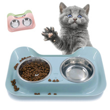 Multi-purpose double bowl dog basin pet cute cat Teddy stainless steel tar anti-skid design