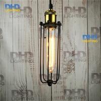 Free shipping metal lamp long cage Copper lamp holder cages vintage pendant light pendant light bulb Antique lamp