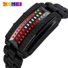SKMEI montre de luxe créative de Sport pour hommes, bracelet en acier inoxydable, 5 bars, numérique étanche, 1013