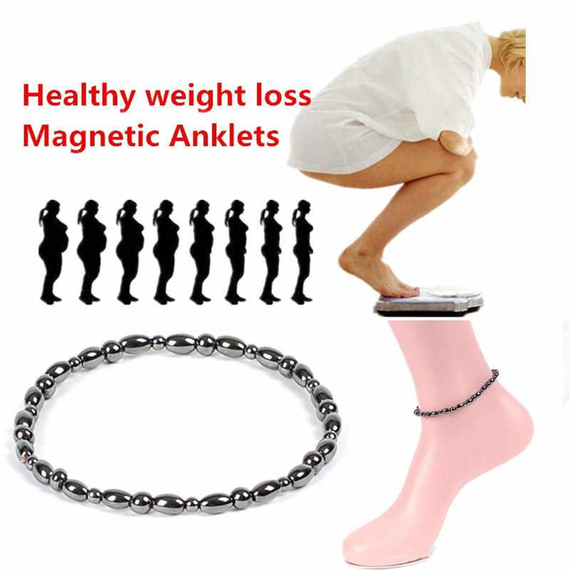1 adet manyetik terapi bilekliği halhal kilo verme ürünü sağlık takı kilo kaybı halhal siyah taş