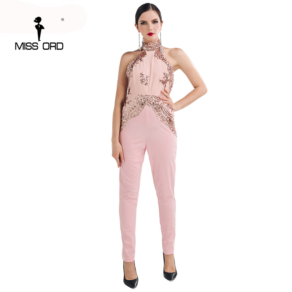 Missord 2017 Sexy sleeveless o-neck halte sequin Jumpsuits FT4695