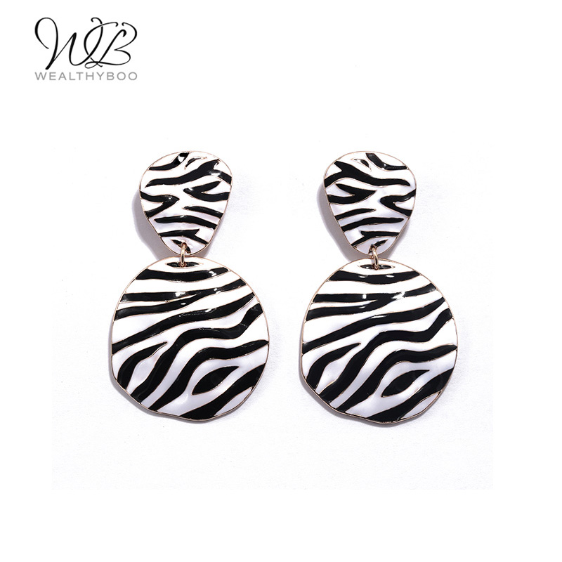 WEALTHYBOO 2018 New Arrival New Idea Zebra Print Pattern Drop Earring For Women Fashion JewelryWEALTHYBOO 2018 New Arrival New Idea Zebra Print Pattern Drop Earring For Women Fashion Jewelry