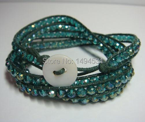 Crystal Wrap Bracelet - Green Color Faceted Crystal Wrap Bracelet 4 Rows With White Button Shell Clasp,Handmade Jewelry.