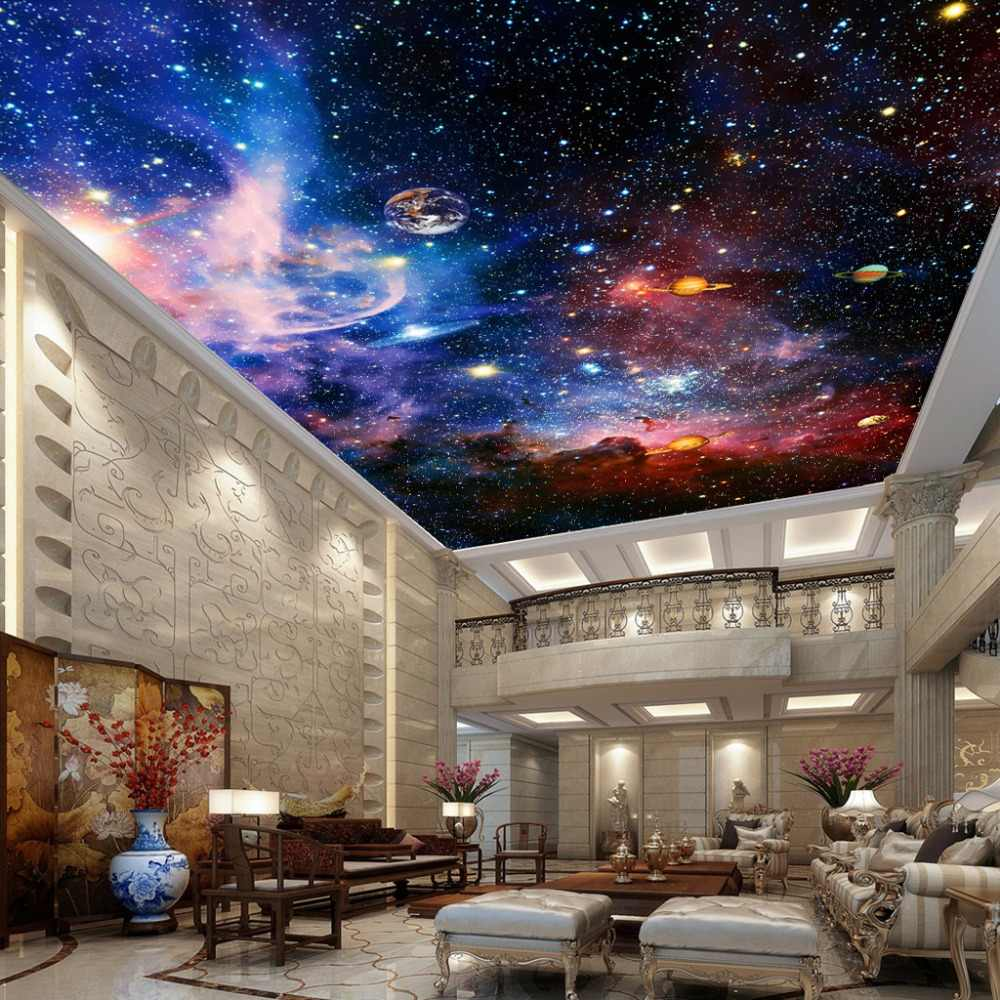 Custom Photo Wallpaper Universe Star Sky Living Room Ceiling Fresco European Style Home Decoration Wall Art Ceiling Wallpaper 3D