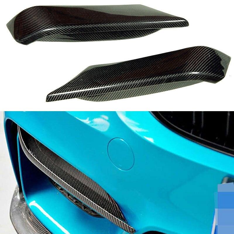 M4 Performance style Carbon Fiber front bumper fins trims decoration for BMW F82 M4 F80 M3 2014-2016
