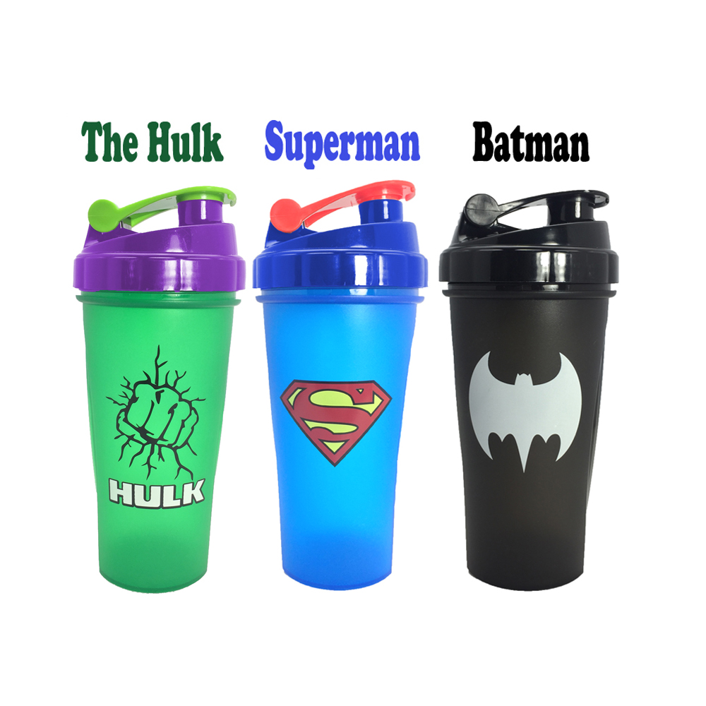 600ML Super Heroes Shaker Bottle With Whisk Ball Sports Gym Whey Protein Powder Mixing Bottle Fitness Water Bottle BPA Free