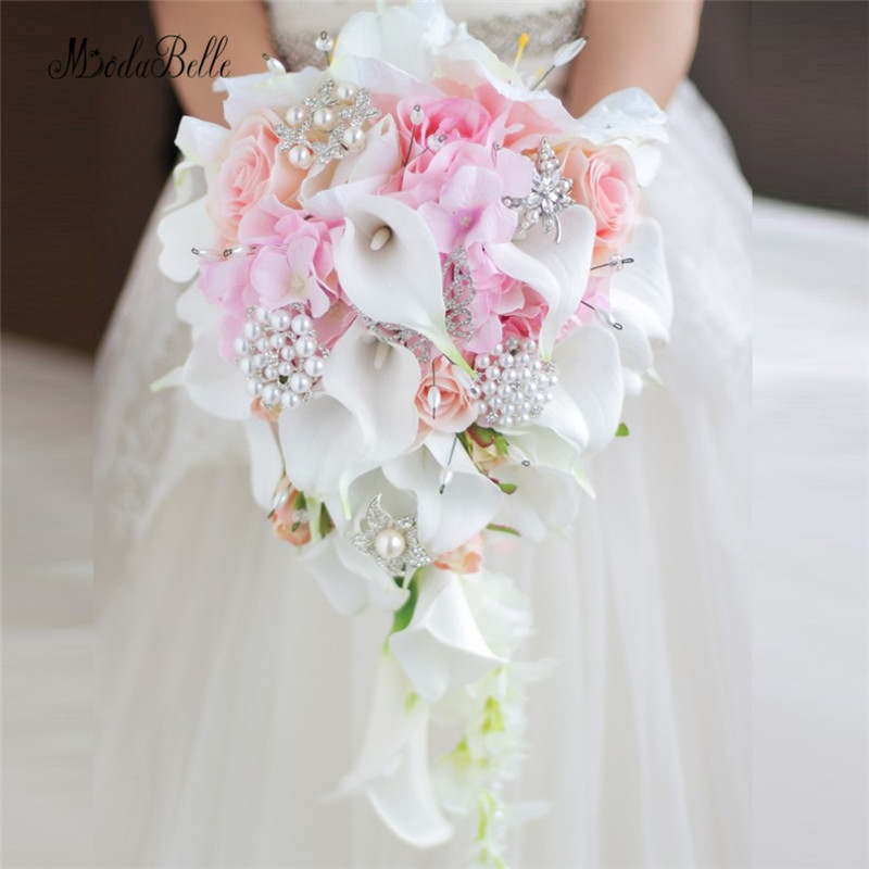 Modabelle Western Style Wedding Bouquet For Brides Crystal Flowers Bridal Bouquets Waterfall Brooch Buque De Noiva Artificial cocktail dress