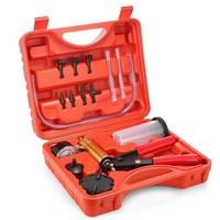 Hand Held Vacuum Pump Tester Set, Car Motorbike Vacuum Gauge and Brake Bleeder Kit,Fluid Bleeding Kit with Adapters TP 0133