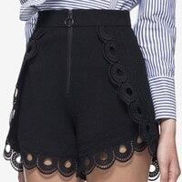 High End Custom Self Portrait 2017 Summer Newest Fashion Designer Black Runway Skirt Shorts High Waist