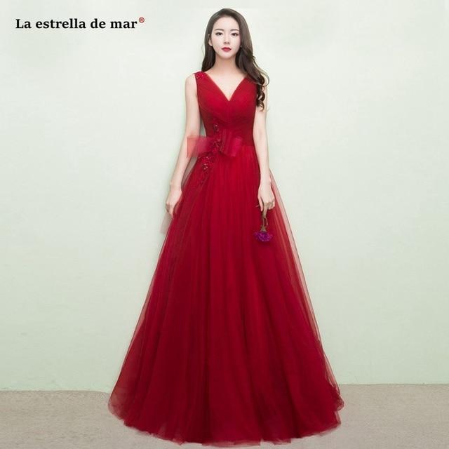 La estrella de mar vestido madrinha 2019 new tulle applique a Line burgundy  bridesmaid dress long plus size wedding party gown 11b64f390014