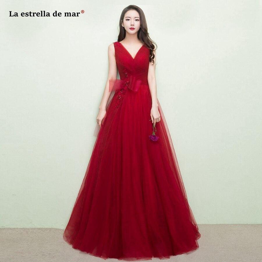 sukienka wesele vestido madrinha 2019 new tulle applique a Line burgundy   bridesmaid     dress   long wedding party gown