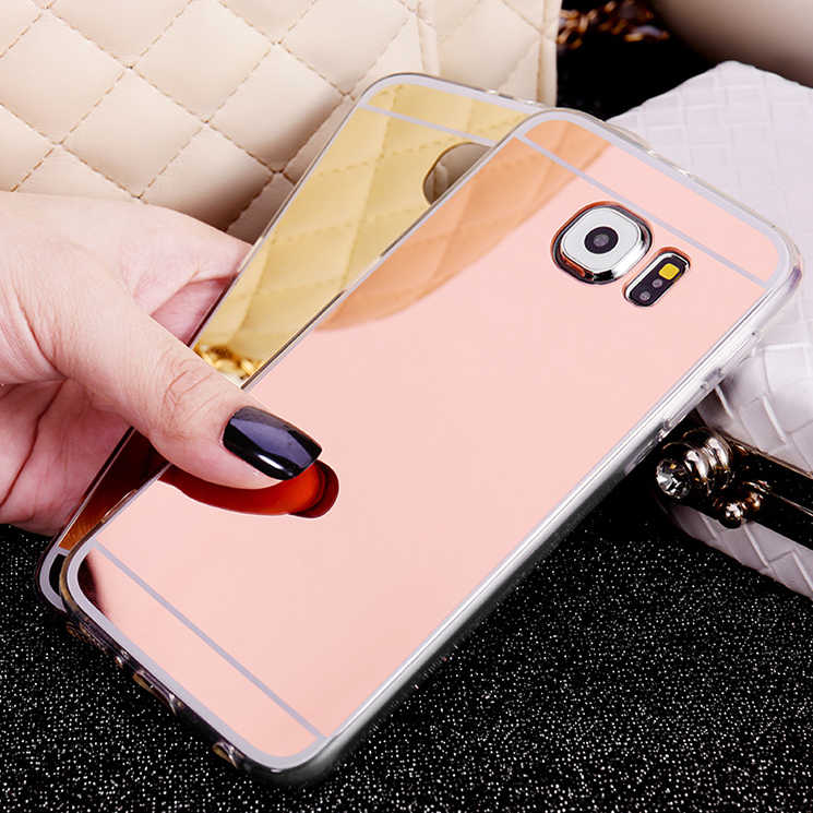Fashion Spiegel Gevallen Zachte TPU Voor Samsung Galaxy S9 S8 Plus S7 S6 Rand J3 J5 J7 A3 A7 A5 2016 2017 Grand Prime Note 8 Cover Case