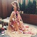 Оптовая продажа горячая распродажа сексуальная бальное платье шампанское милая цветы кружева пром платья 2016 цветочные одно плечо vestido де феста VP2