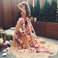 Venda por atacado Hot Sexy vestido de baile champanhe querida flores Lace vestidos de baile 2016 Floral de um ombro vestido de festa VP2