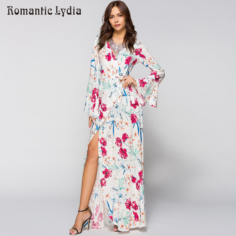 49d3fa52ae2bc Maxi Wrap Dress 2018 Spring Summer Women Boho Floral Beach Party Loose  Fashion Long Bohemian Dresses Plus Size-in Dresses from Women s Clothing on  ...