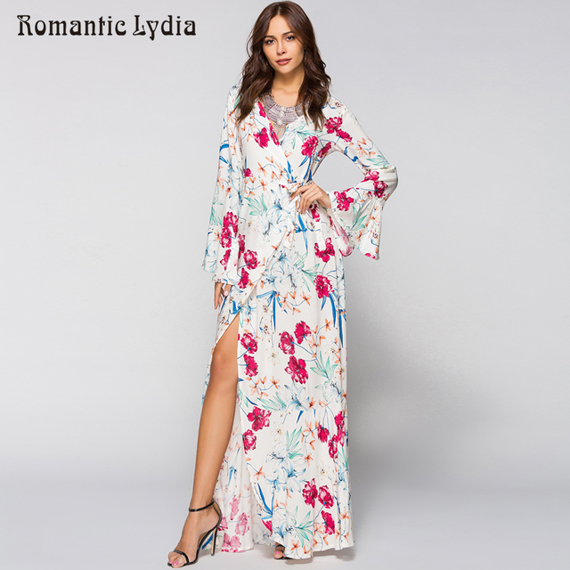aaf9ab440f6 Maxi Wrap Dress 2018 Spring Summer Women Boho Floral Beach Party Loose  Fashion Long Bohemian Dresses