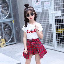 hot deal buy kids clothes 2019 new cotton short sleeve girls clothing sets baby o-neck tshirt+ skirt pants children's suit baby girl clothes