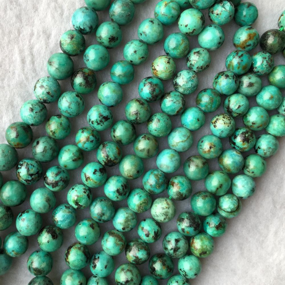 High Quality Natural Blue Green Africa Turquoise Round Loose Stone Beads Fit Jewelry 15 06006