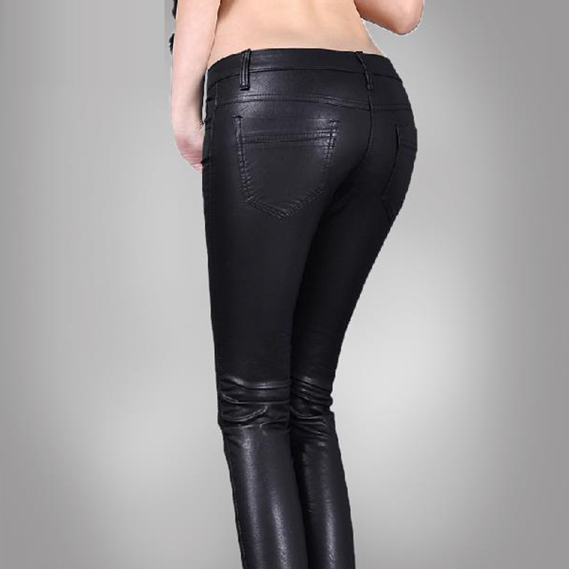 Womens Black Low Rise Faux Leather Jeans