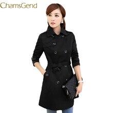 11.11.2017 black elegant coats women autumn winter slim long trench coat clothing women's windbreaker 66# #42