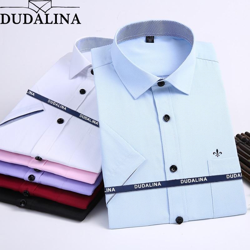 f79896780334186 Dudalina 2019 Новая Летняя мужская рубашка с короткими рукавами модные  однотонные Саржевые мужские рубашки Формальные Деловые