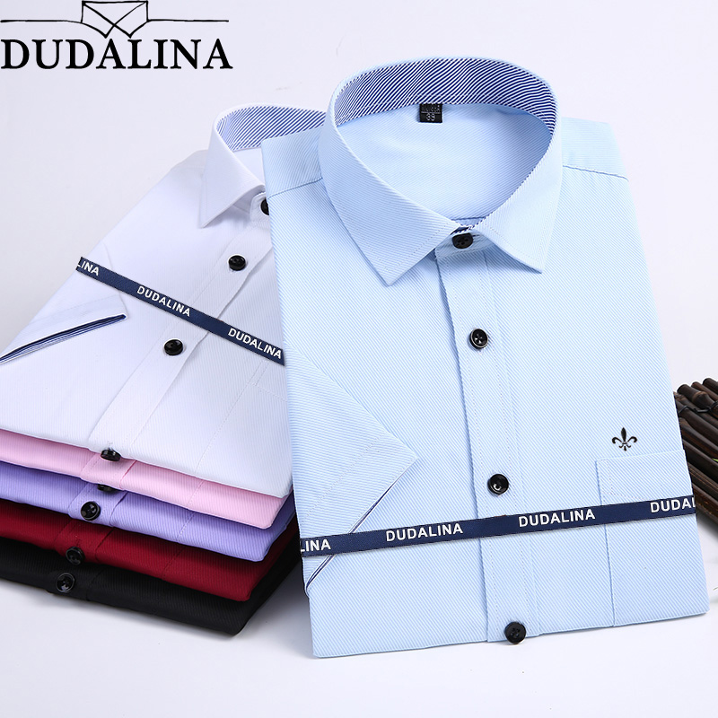Dudalina 2020 New Summer Men Shirt Short Sleeved Fashion Solid Twill Male Shirts Formal Business White Camisa Masculina