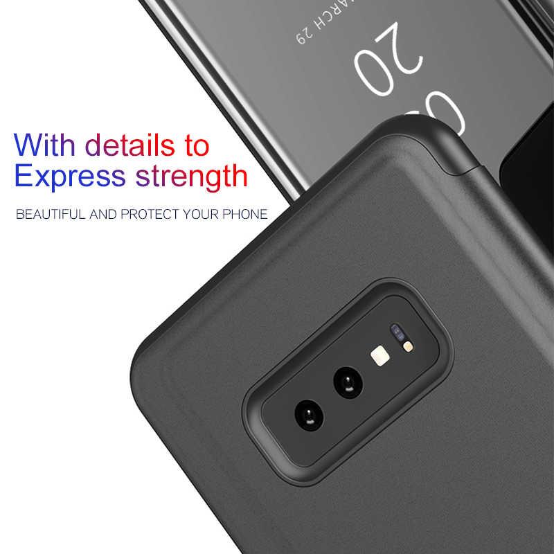 Cermin Case untuk Samsung Galaxy Note 10 Pro S10 5G S9 S8 PLUS S10E S6 S7 EDGE Flip Cover Di SUMSUNG S 10 9 8 7 6 Berdiri Tritone