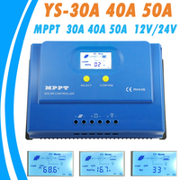 PowMr MPPT Charge Controller 50A 40A 30A Big Backlight LCD Display 12V 24V Solar Regulator For
