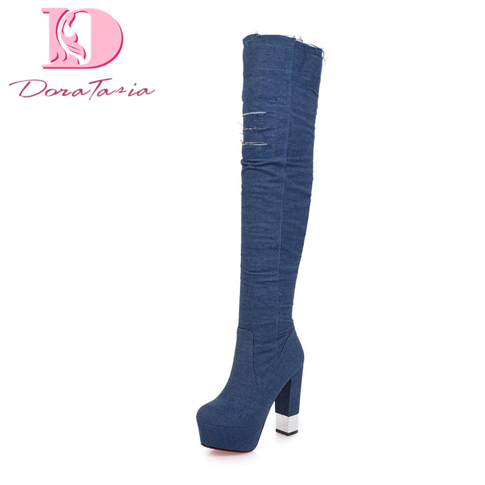 Doratasia 2018 Large Size 32-43 Chunky High Heels Zip Up Party Boots Woman Shoes Platform Over The Knee Boots Shoes Woman doratasia 2018 large size 34 43 chunky heels women boots shoes slip on over the knee high boots leisure fashion shoes woman