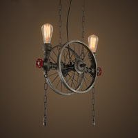 RH LOFT Metalen Wiel Hanglamp Vintage Industriële Verlichting Amerikaanse Gangpad opknoping Lichten Lamp 110 V-220 V