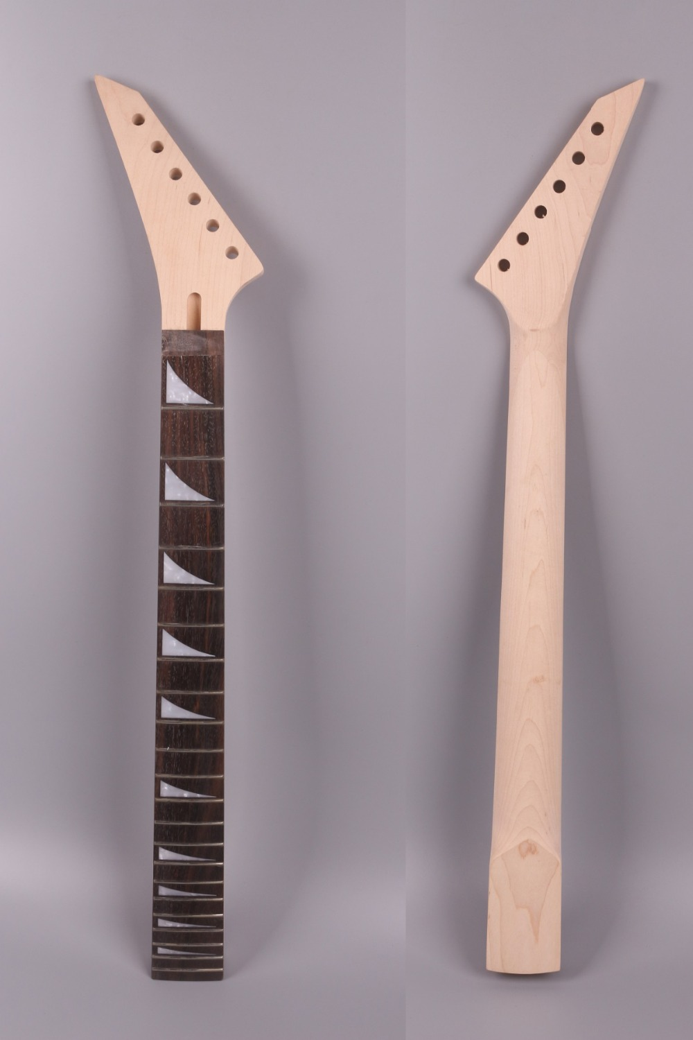 Yinfente Electric Guitar Neck 22 Fret Reversed Head Rosewood Fretboard 25.5 Inch Maple Locking nut Shark Inlay #13 yinfente electric guitar neck 22 fret reversed head rosewood fretboard 25 5 inch maple locking nut shark inlay 13