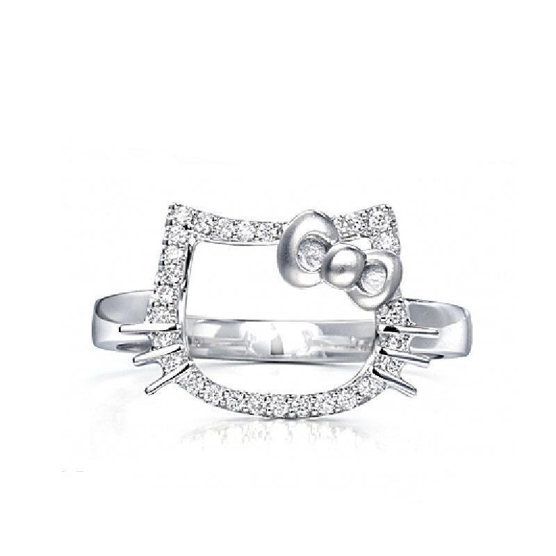 Silver Real Time Quote: 925 Sterling Silver Ring Opening Cute Cats Hello Kitty