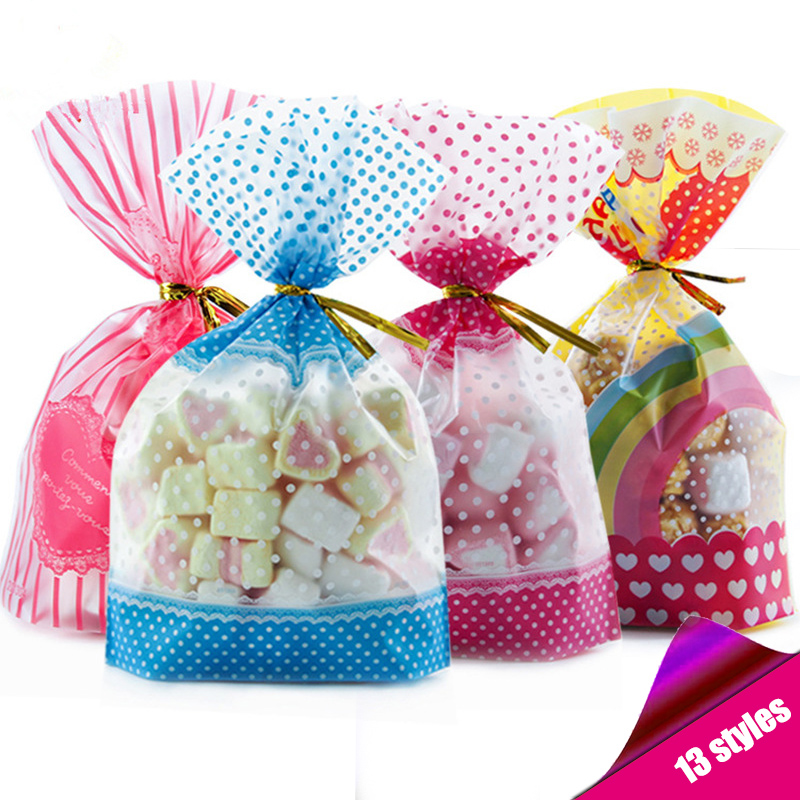 50/pcs Candy Bag Packaging For Sweets Candies Bags Transparent Plastic Easter Birthday Wedding Party Gift Wrap Pink 100 % New