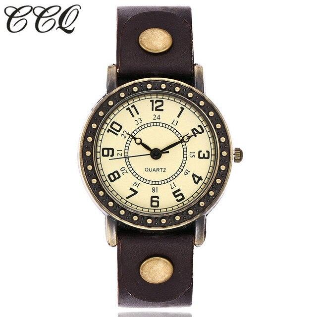 Vintage Fashion Simple Dial Watch Casual Cow Leather Quartz Watch Women Wristwat