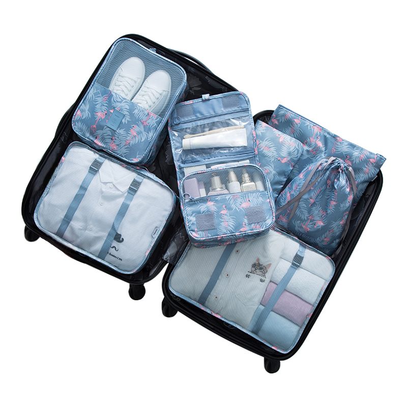 7pcs/set Storage Bags Organizer Functional Wash Cosmetic Clothes Quilt Shoe Home Clothing Wardrobe Car Travel Organization Items