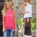 Blusas 2016 Blusa Da Moda de Verão Sexy Mulheres Blusa das Senhoras S Neck Lace Patchwork Solto Sólida Camisas Mulheres Plus Size Casuais topos