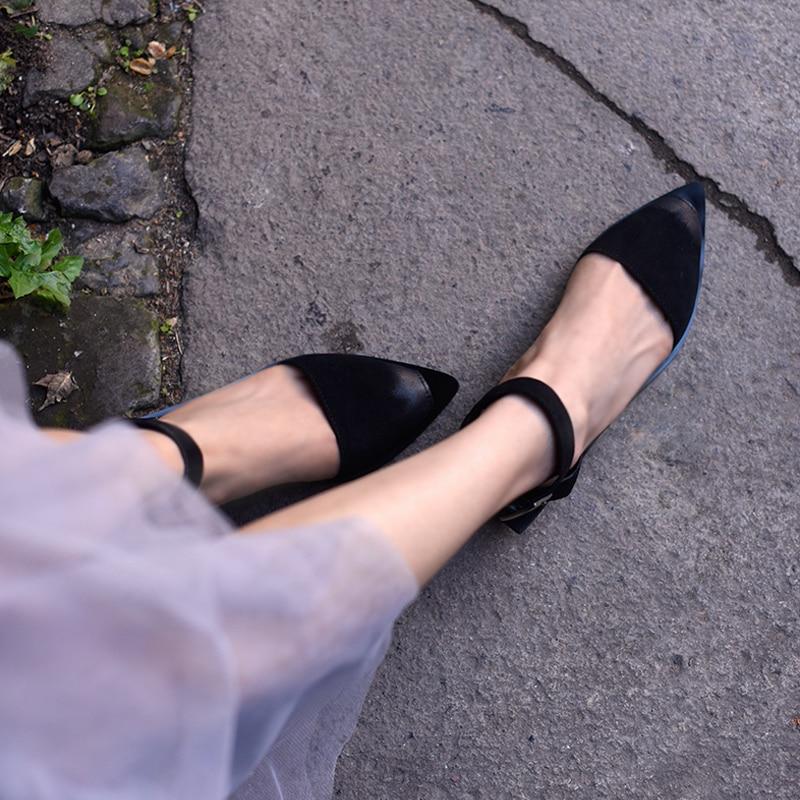 Sandales En Chaussures Beige À Lady Artmu Robe Femme Sandalias Pointu Femmes Mujer Diapositives La Main noir Cuir Zapatos Boucle Mode Bout qgfAw14