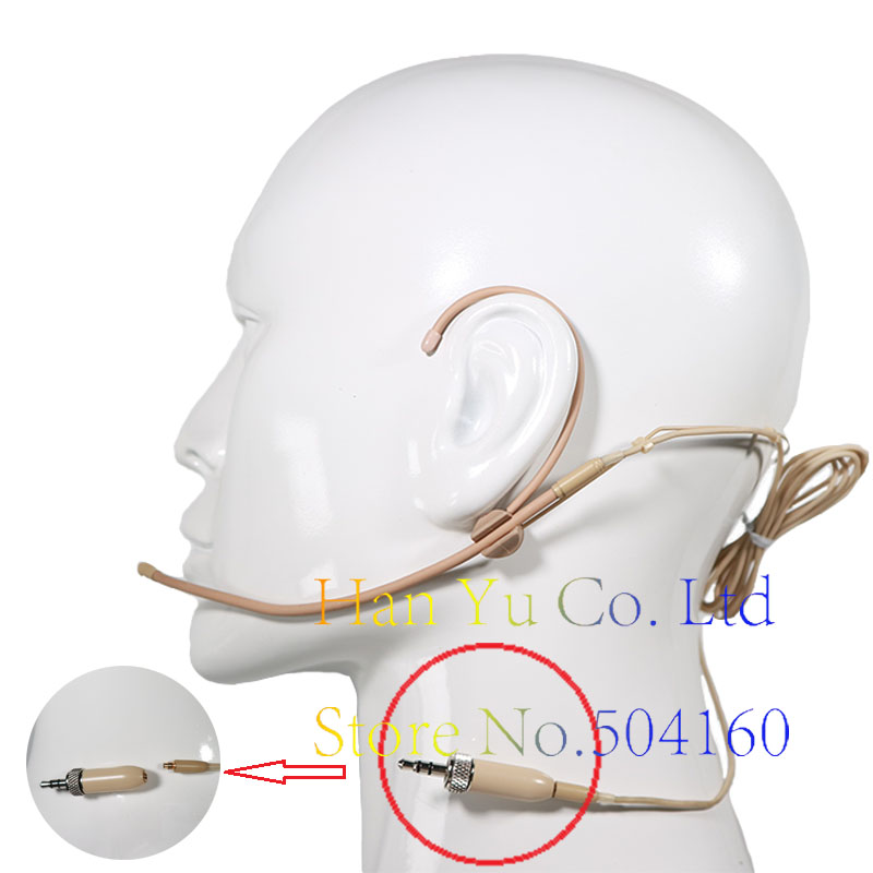 Micro-casque détachable à double crochet omnidirectivité Beige mini pour système de micro sans fil Sennheiser