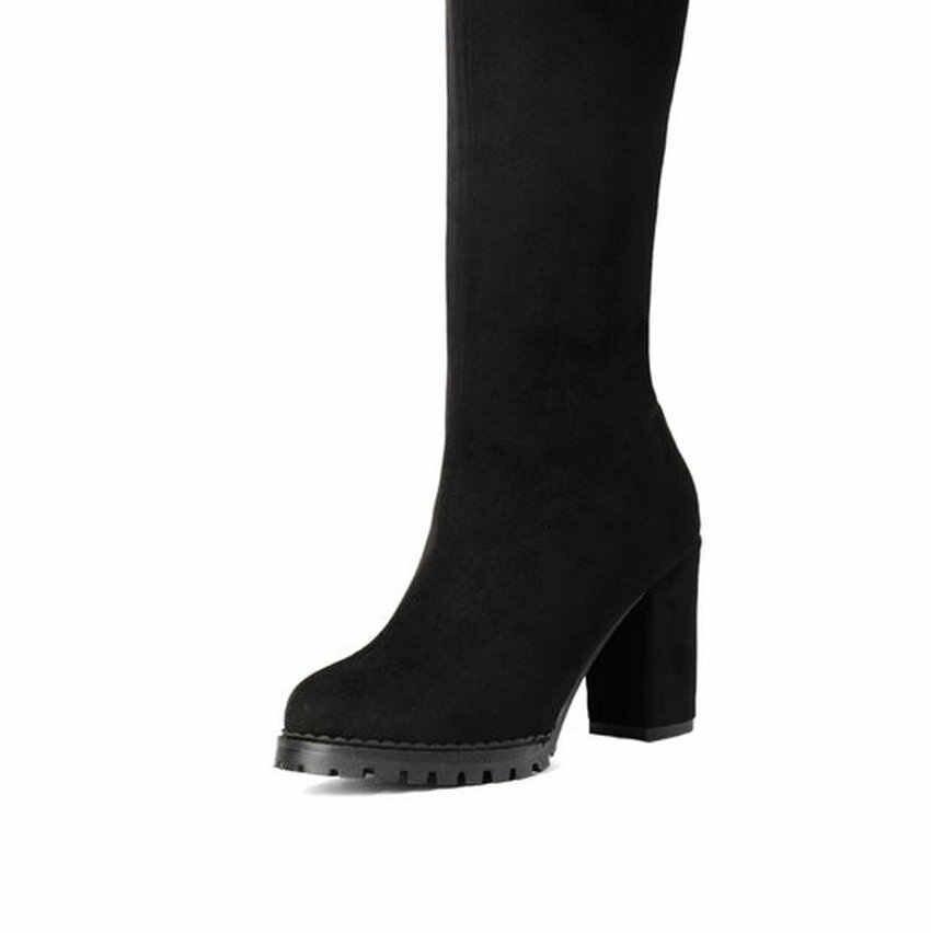 ESVEVA 2020 Diz Yüksek Çizmeler Kış Kadın Ayakkabı Zarif Botları Fırçalayın Kare Yüksek Topuk Fermuar Moda Bayanlar Uzun Çizmeler Boyutu 34-43