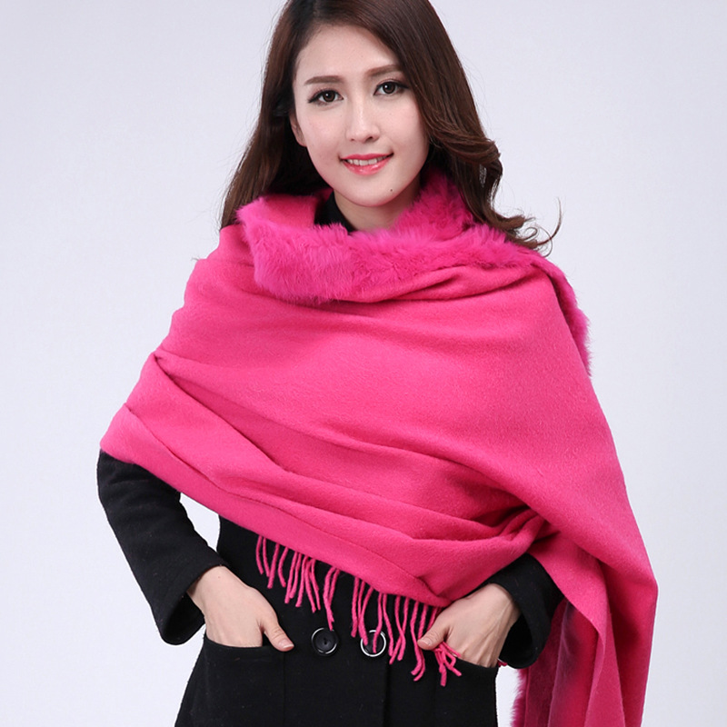 Promotion Hot Pink Women's 100% Cashmere Shawls Chinese Style Fashion Wool Cape Solid Color Pashmina Oversize 176 x 68cm