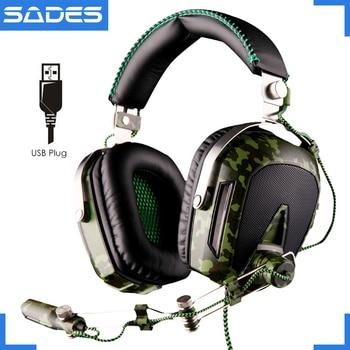 Sades a90 piloto usb 7.1 surround sound gaming fones de ouvido fone de ouvido 7 cores luzes respiração para computador gamer camuflagem