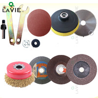 LA VIE 12pcs Disc Polishing Wheel Wood Saw Blade Wire Wheel Abrasive Paper Electric Drill Angle