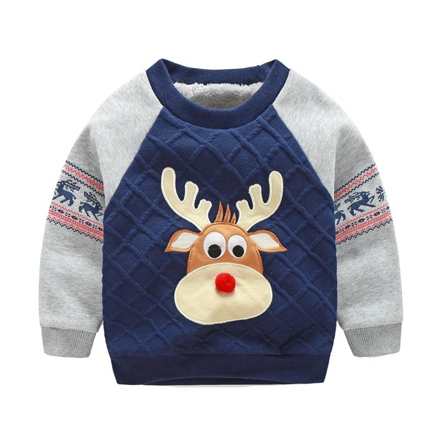 Fawn Pattern Casual Children Fashion Hoodies Boys Warm Sweatshirts Girls Cute Sweater Kids Fashion Top Clothes, Cheap Price
