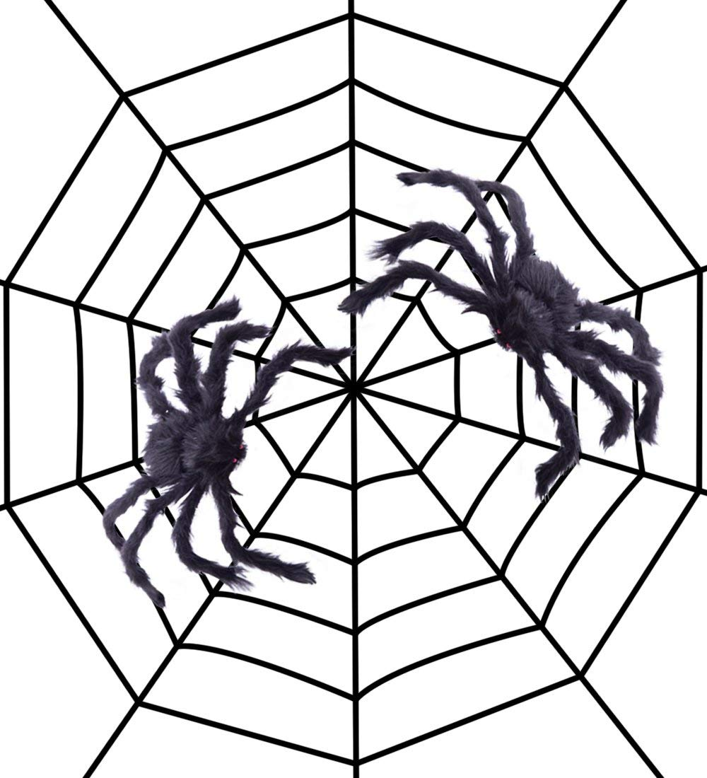 5ft 1.5m Fake Spider Web Black Halloween Decorations With ...