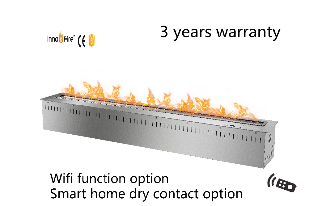 48 Inch Long Black Or Silver Smart Bioethanol Wall Mounted Fireplace