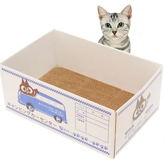 Fashion Corrugated Dog Cat Bed Scratch Board Box Claw Toy Carton For